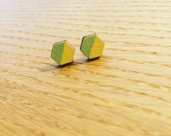 Lemon and Village Green Hexagonal Wood and Sterling Silver Earrings