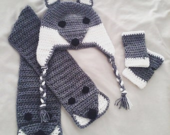 Crochet Wolf Beanie, Scarf and Wrist Warmers