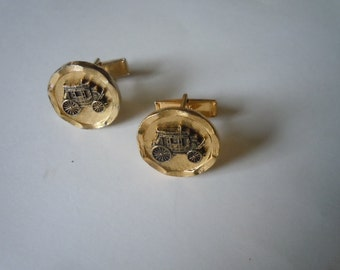 1960s Gold Stage Coach Cuff Links