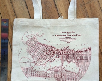 Downtown Vancouver Archival Map Canvas Totes