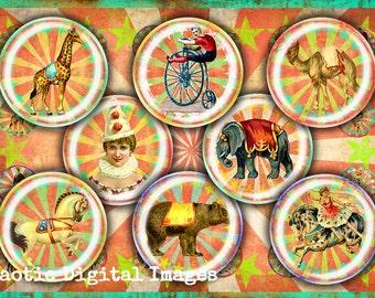 THE CIRCUS - Digital download collage sheets 16, 18, 20 mm cabochon circles