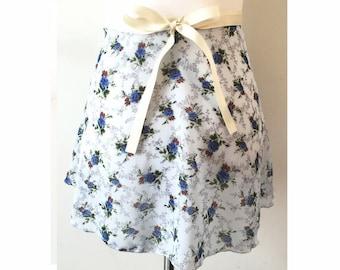 Light Blue Flower Ballet Wrap Skirt for Adult/Teen