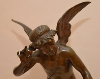 Splendid Large Art Nouveau French Angel Bronze signed ''GIRAUD'' –circa 1900