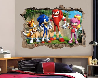 Sonic The Heedgehog Smashed Wall Decal Graphic Wall Sticker Tails H181