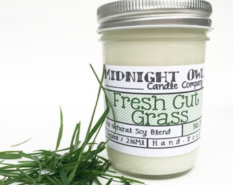 Fresh Cut Grass Scented Candle 8oz or 16oz Scented Soy Candle - Mason Jar Candle  Midnight Owl Candle Co.