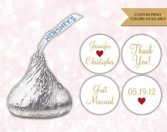 Hershey kiss stickers (108) - Hershey kiss stickers wedding - Hershey kiss labels - Hershey kisses personalized labels (HK006)