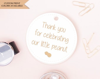Little peanut baby shower tags (30) - Thank you baby shower tags - Our little peanut