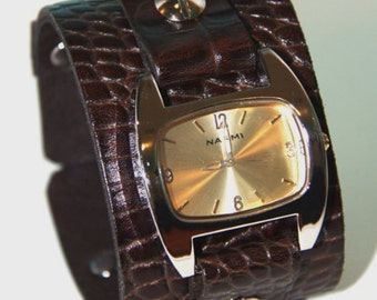 Brown Leather Cuff Watch Handcrafted in Detroit