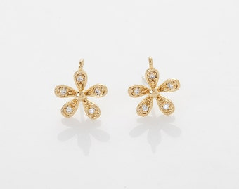 Cubic Flower Post Earring Polished Gold- Plated - 2 Pieces [AA0111-PG]