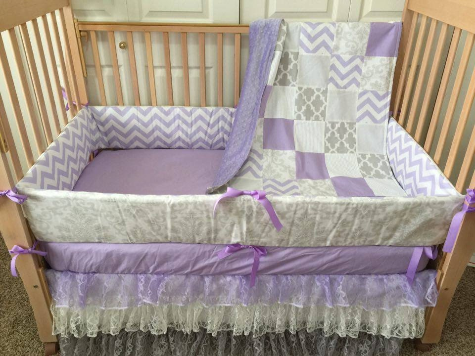 Purple Gray & Cream Baby Bedding Baby Crib by