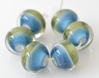Handmade artisan lampwork boro borosilicate glass beads set of 6 blue green