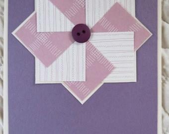 Pale Plum Faux Pinwheel Notecards/ Handmade Notecard Set / Sewing Theme Notecard set/ Blank notecards