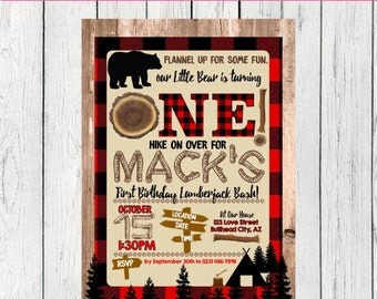 Lumberjack First Birthday or Any Age: Personalized birthday invitation- ***Digital File*** (One-Lumber)