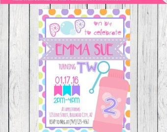 Bubbles Personalized Birthday invitation ***Digital File*** Any Birthday! (Bubbles-polka)