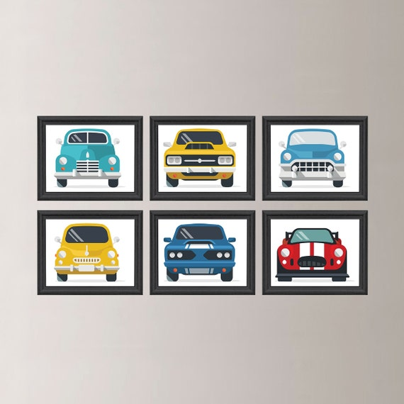 Vintage Auto Wall Decor : Classic cars wall art car decor boy retro