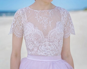 Serenity - lace bridal blouse / bridal blouse / bridal lace top / blush bridal top / bridal separates / blush lace / short sleeves top