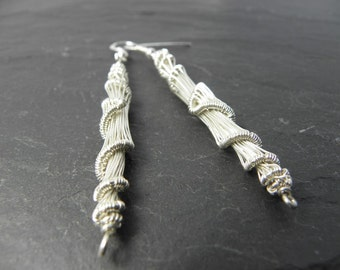 Caoimhe, cocoon earrings woven in sterling silver