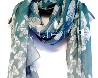 White Butterfly Teal Green Autumn / Spring Summer Scarf / Gift For Her / Women Scarves / Fashion Accessories
