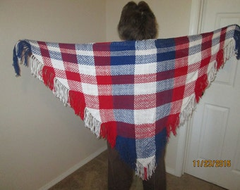 red, white and blue hand woven triangular shawl