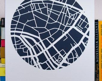 Berlin paper cut map silhouette in A4 size