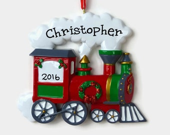30% OFF SALE - Toy Train Personalized Ornament - Choo Choo! - Hand Personalized Christmas Ornament