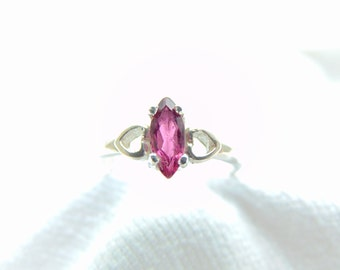 Pink Tourmaline Marquise Ring in Sterling Silver