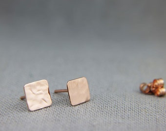Solid 14K Rose Gold Square Stud Earrings | Handmade Hammered Square Earrings 4mm 5mm 6mm 7mm Stud Earrings