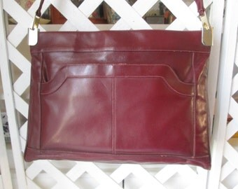 Lou Taylor vintage Burgundy shoulder bag w/ coin purse and mirror