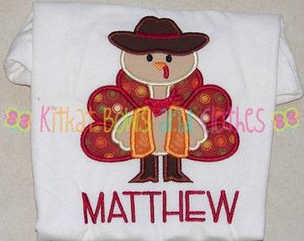 BOY -  Cowboy Turkey - Applique Shirt - Thanksgiving - Autumn - Fall