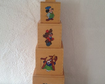 Vintage wooden cube with Disney characters , children's toys