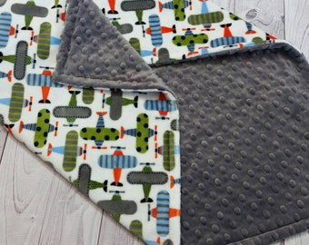 Personalized Baby Blanket, Airplane Baby Blanket, Boy Baby Blanket, Boy Minky Blanket, Personalized Minky Blanket