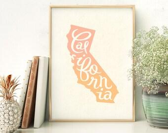California screen print - California art - California poster - California wall art
