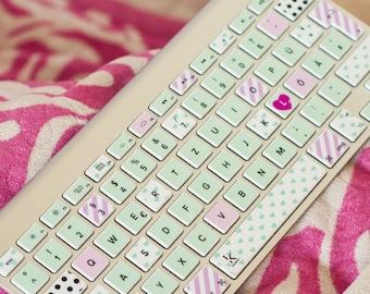 Washi tape keyboard stickers Macbook cover skin Washi Macbook keyboard decal macbook sticker macbook keyboard macbook # Mint pink washi