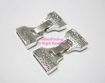 5pcs 15x2mm Flat leather clasp 15mm Clip clasp Flat leather connector