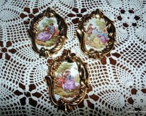 Limoges Hand Painted Fragonard French Porcelain 24k Gold Plaques * Pictures with Hangers FREE SHIPPING