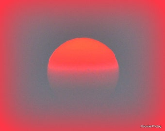 Orange red glow sunset picture, sunset with vignette, sun almost gone, wall art poster