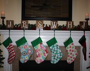 Set of 6, Rustic Christmas Stocking Holders for Mantle