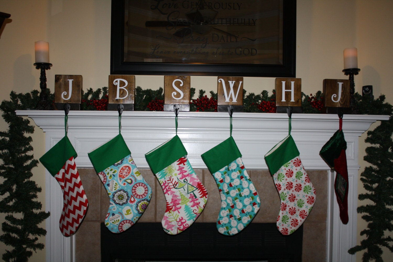 set of 6 rustic christmas stocking holders for mantle. Black Bedroom Furniture Sets. Home Design Ideas