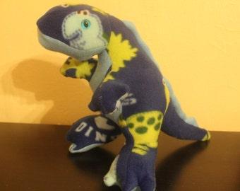 Blue dinosaur print stuffed dinosaur plushie/toy