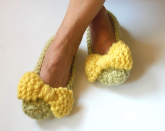 YELLOW GREEN Wool Women's Slippers - Nonslip Chunky slippers - Wedding Dance flats - Home shoes - Knit slippers - Home Flats - READY to ship