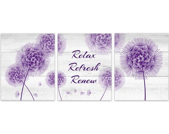 Bathroom Wall Art Relax Refresh Renew Rejuvenate Yellow