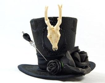 Gothic mini Hat Brocade - antler cameo + roses - headpiece - Fascinator