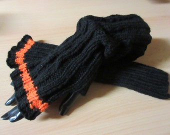 Arm warmers, leg warmers in black, with trims in orange and thumb hole