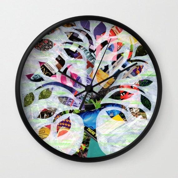 Articoli simili a regalo festa della mamma albero della vita orologio colorato orologio da - Albero su parete ...
