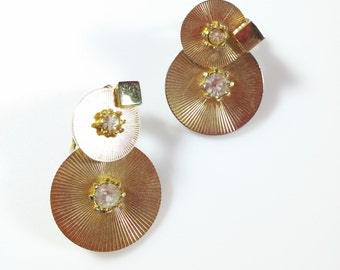 Vintage Clip Earrings Gold Tone Round Disc Dangle w/ Rhinestone Center