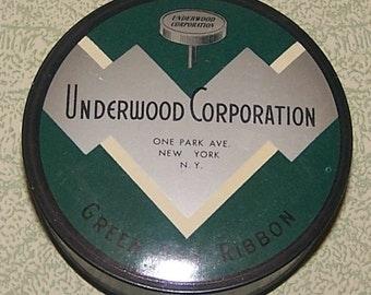 Tin Underwood Corporation green box typewriter ribbon