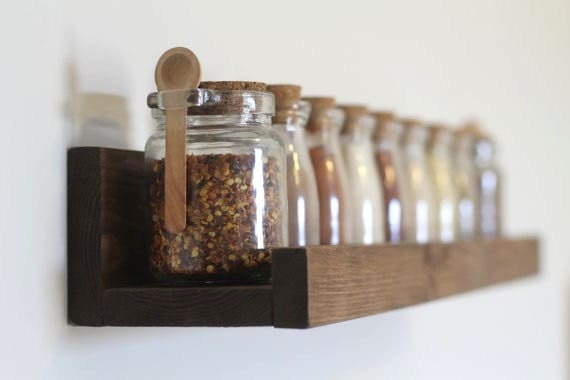 Rustic wooden spice rack ledge shelf ledge shelves wooden for Shelf decor items