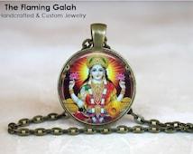 LAKSHMI Pendant. Indian Hindu God. Hinduism Religious Jewelry. Necklace / Keyring /Pendant. Gift Under 20. Gift from Australia (P0686)