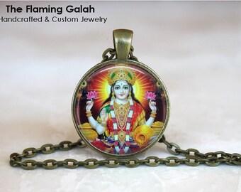LAKSHMI Pendant • Goddess of Wealth • Hindu Goddess • Hindu Religious Jewelry • Gift Under 20 • Made in Australia (P0686)