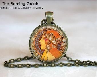 "ALPHONSE MUCHA Pendant, ""Zodiac""  Mucha Jewellery •  Mucha Charm •  Art Nouveau •  Gift Under 20 • Made in Australia (P0021)"